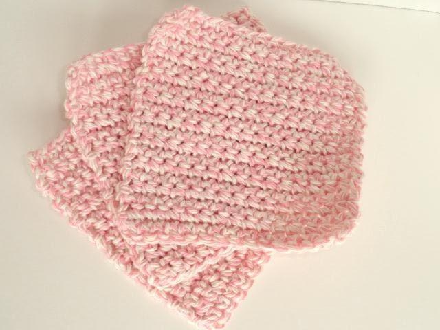 Childs Crocheted Cotton Washcloths Set of 3 in Soft Pink & Ecru Twist - GraciLuS