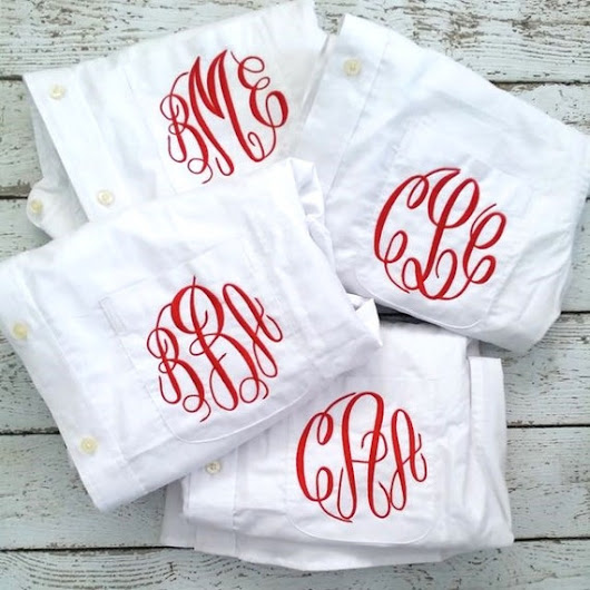 4 Monogrammed Bridesmaids Shirts For Bridal by HeatherStrickland