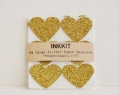 gold glitter large heart stickers  (24 stickers) - inkkit