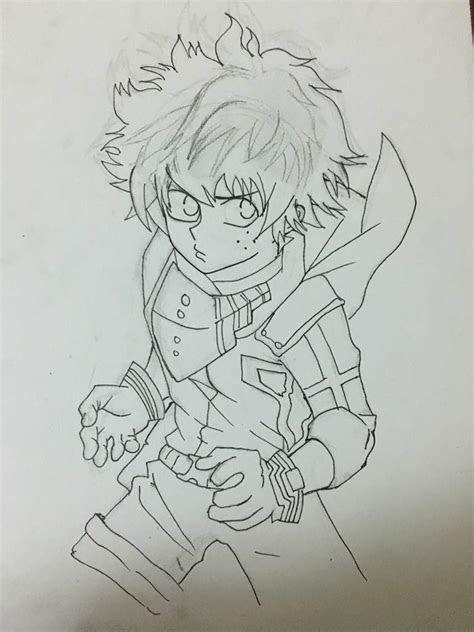 deku drawing process anime amino