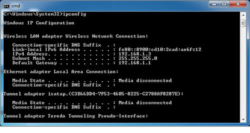 Windows 7 Cmd ipconfig