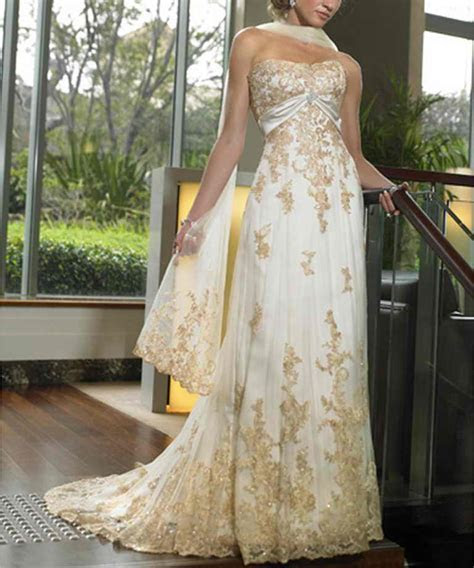 Elegant Gold Wedding Dress   Inofashionstyle.com