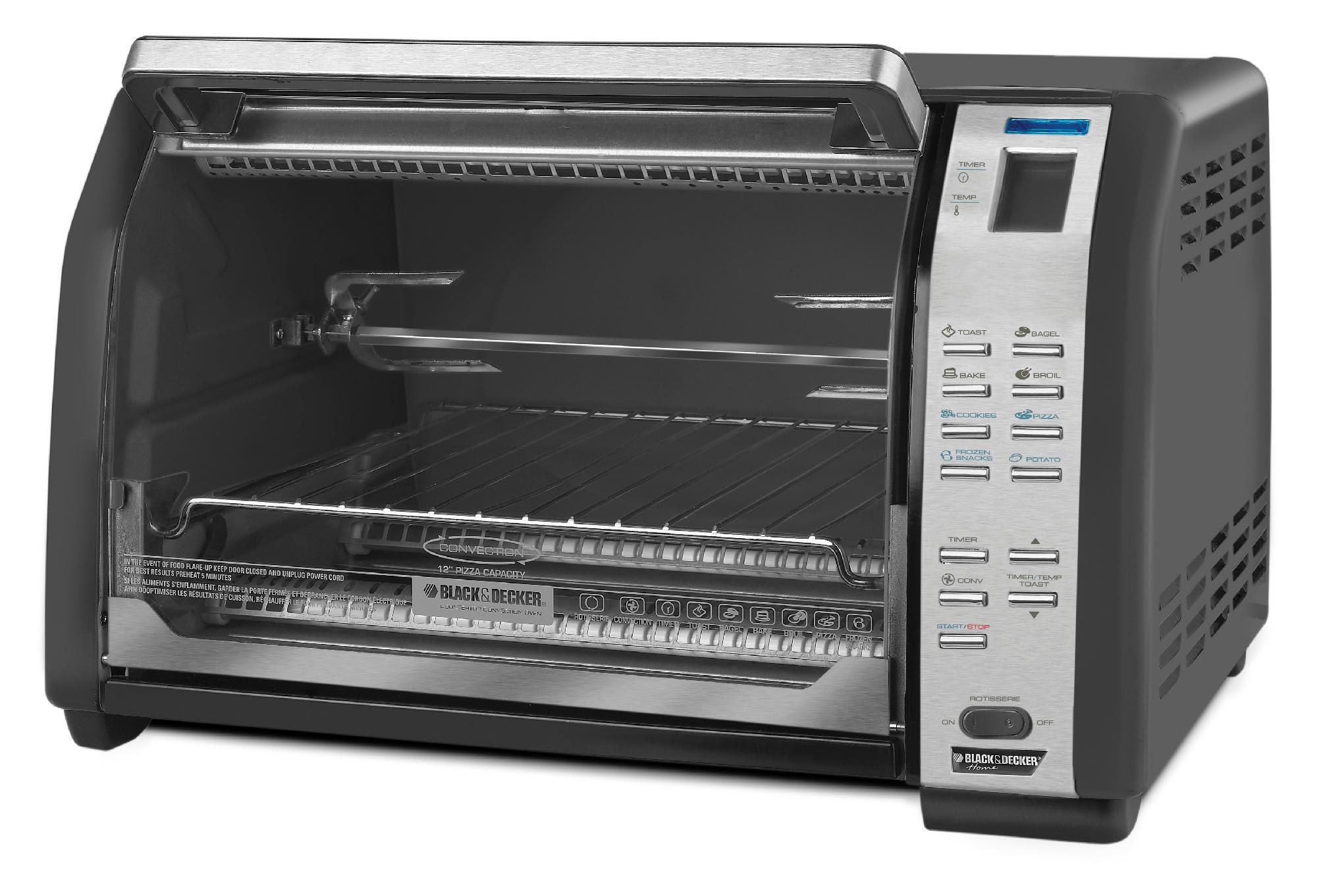 Applica Black & Decker CTO7100B 6-Slice Digital Rotisserie Convection Oven, Black - Appliances ...