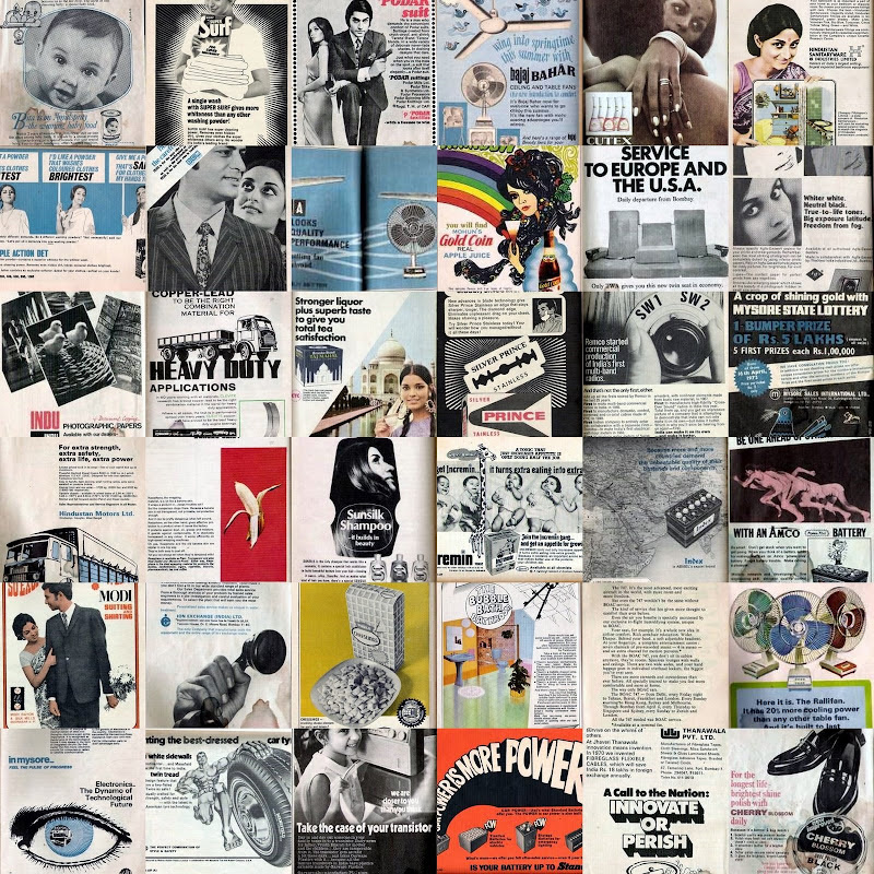 Collage of Vintage Print Ads from the 70s