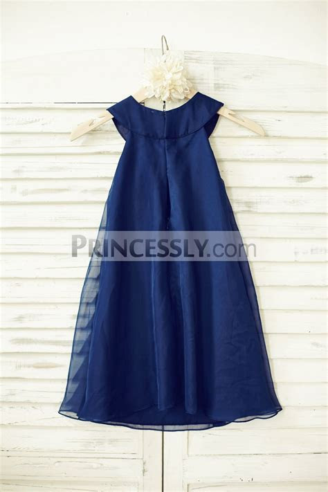 Boho Beach Navy Blue Chiffon Wedding Flower Girl Dress
