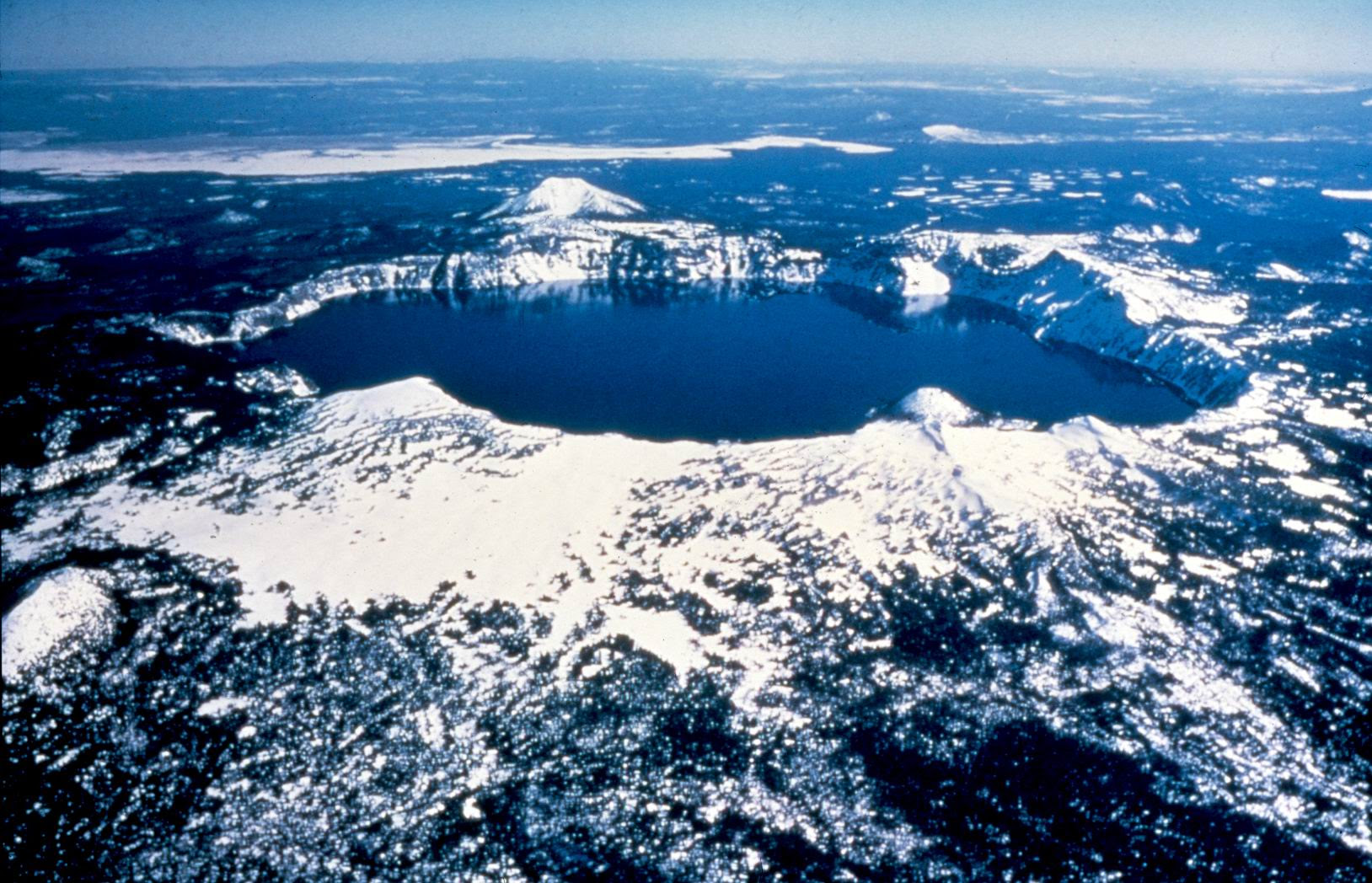 Aerial View of Crater Lake in Winter