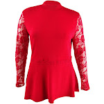 INC International Concepts Women's Plus Lace Peplum Sweater (0X, Real Red)