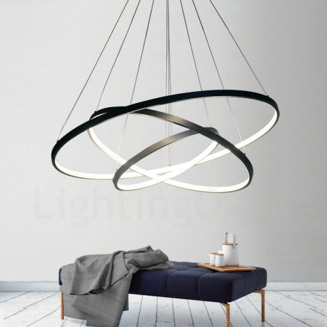 Dimmable 90W Pendant Light with Remote Control Modern Design/ LED Three Rings/ 220V~240/100~120V/Special for office,Showroom,Living Room - LightingO