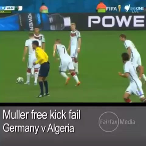 Watch Thomas Muller's epic free kick fail #worldcup #muller #GER #ALG