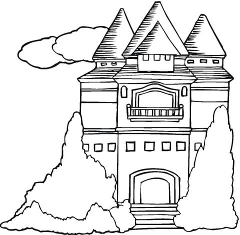 mansion coloring page  free printable coloring pages