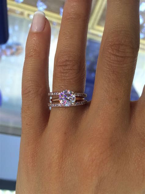 1.21 ct E VVS2 set in rose gold with two #eternity but