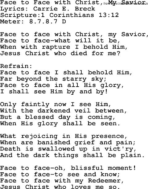 Face To Face With Christ My Savior Hymn Lyrics