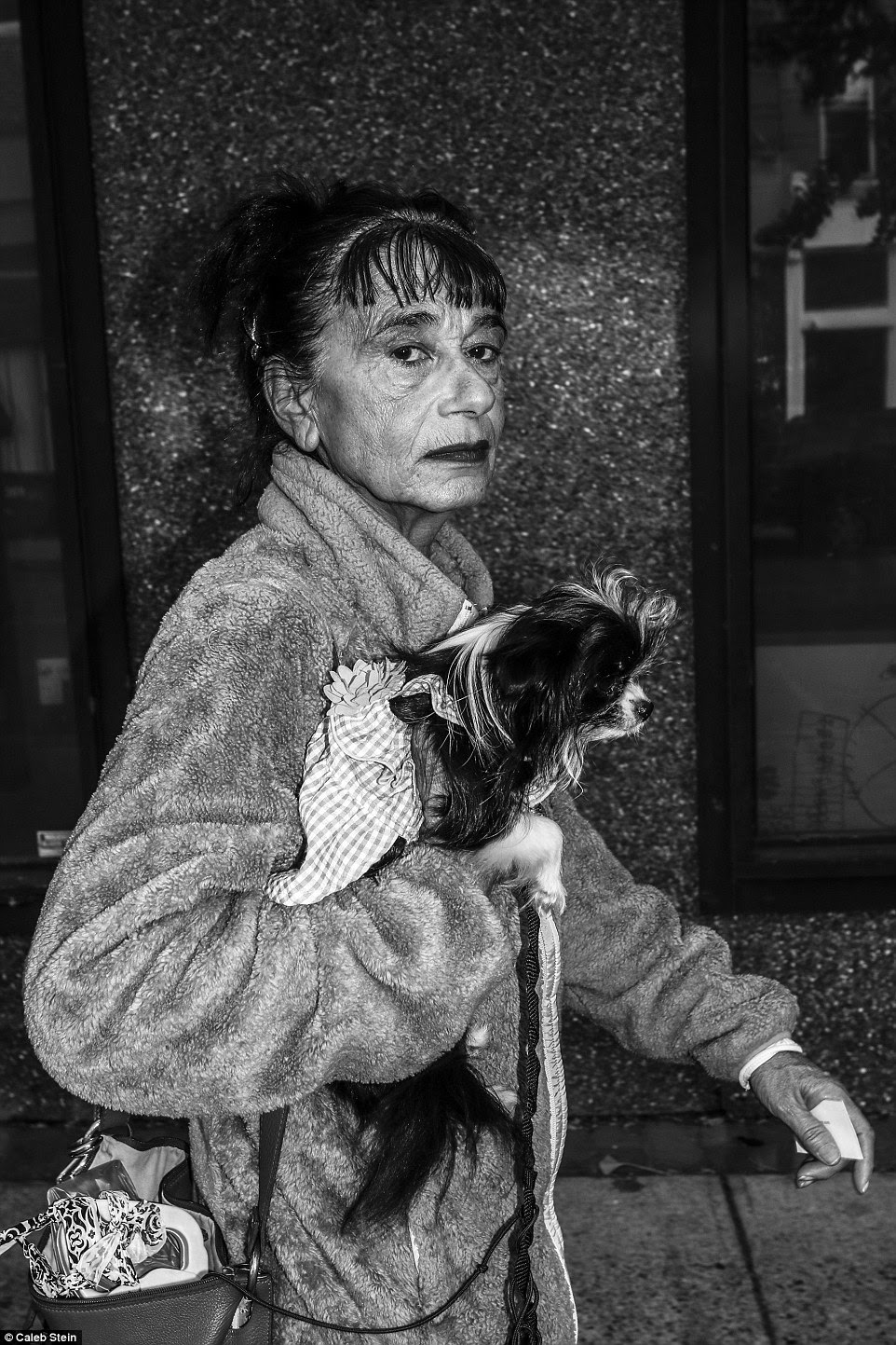 Poughkeepsie resident Rebecca is pictured above walking down Main Street in the city with her dog, Ruby