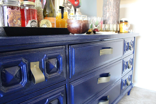 DIY Faux Leather Drawer Handles on Painted Blue Dresser