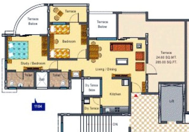 DSK Kunjaban Punawale 2 BHK Flat 11th Floor C & D Wings 636 Carpet + 342 Terrace for Rs. 35.64 Lakhs