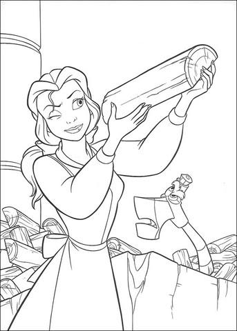 Dibujo De La Princesa Bella Sostiene Un Tronco Para Colorear