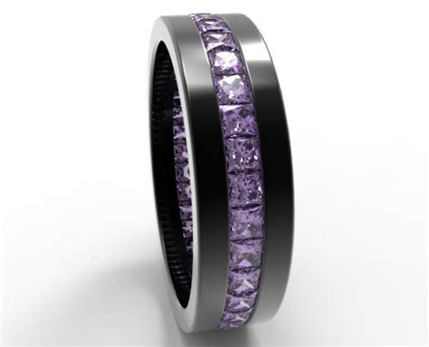 Princess Cut Amethyst Men's Wedding Band In Black Gold