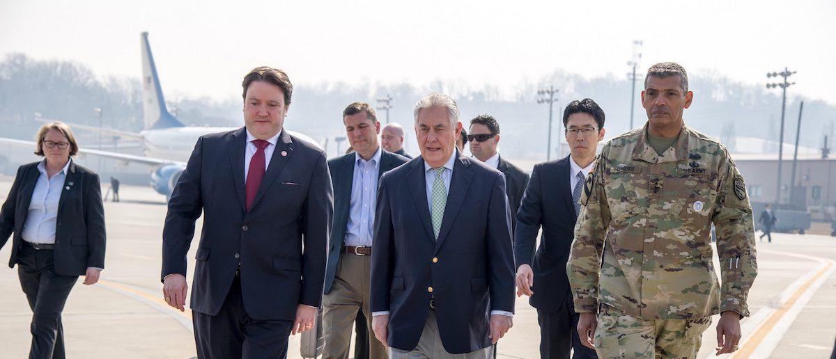 U.S. Secretary of State Rex Tillerson walks with Marc Knapper, U.S. Embassy Seoul Chargé d'Affaires ad interim, and Gen. Vincent K. Brooks, U.S. Forces Korea commander, upon arriving at Osan Air Base outside of Seoul, South Korea, on March 17, 2017. [State Department photo/ Public Domain]