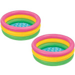 Intex 2.8ft x 10in Sunset Glow Inflatable Colorful Baby Swimming Pool (2 pack) by VM Express