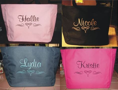 3 WEDDING TOTE Bag personalized BRIDESMAID SCROLL BRIDAL
