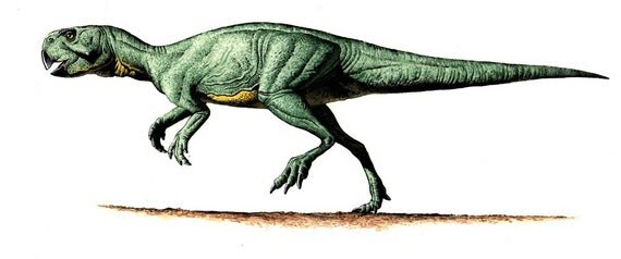 Psittacosaurus painting by Bob Walters