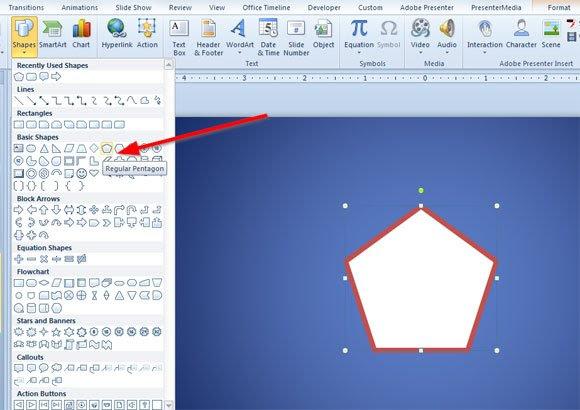 regular pentagon shape powerpoint