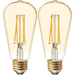 GE 42200 Vintage Style ST19 Dimmable LED Light Bulb, 6W, 2-Count