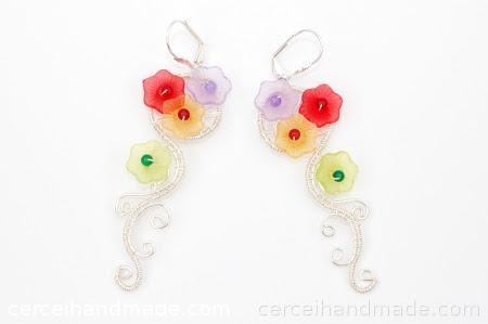 Cercei handmade flori