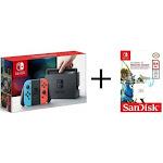 Nintendo Switch 32GB Gray System with Neon Joy-Cons + 64gb microSDX Zelda