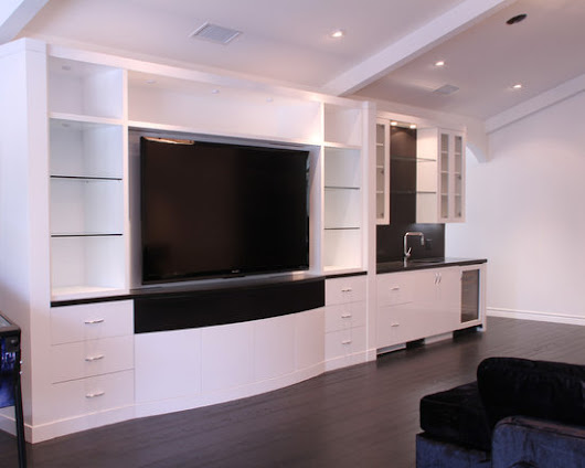 Gloss White Rec Room and Bath Cabinets