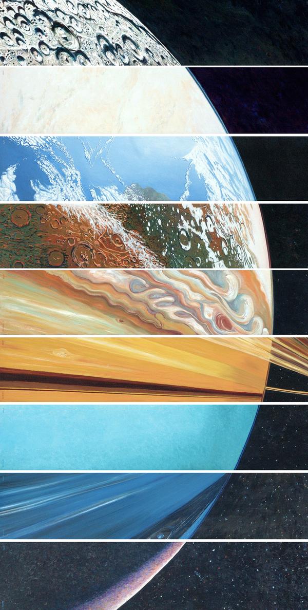 Collage de un planeta imaginari fet amb talls dels planetes del sistema solar.