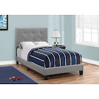 Monarch Specialties I 5923T Grey Leather-Look Twin Bed