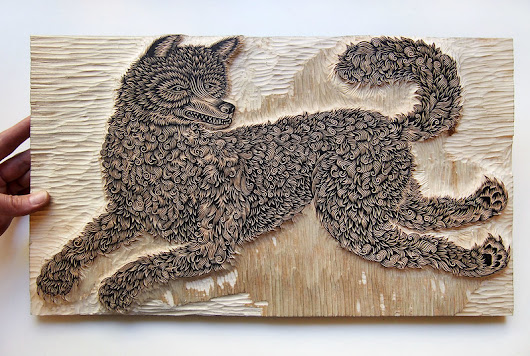 """THE WOLF"" Woodcut - Carved!"