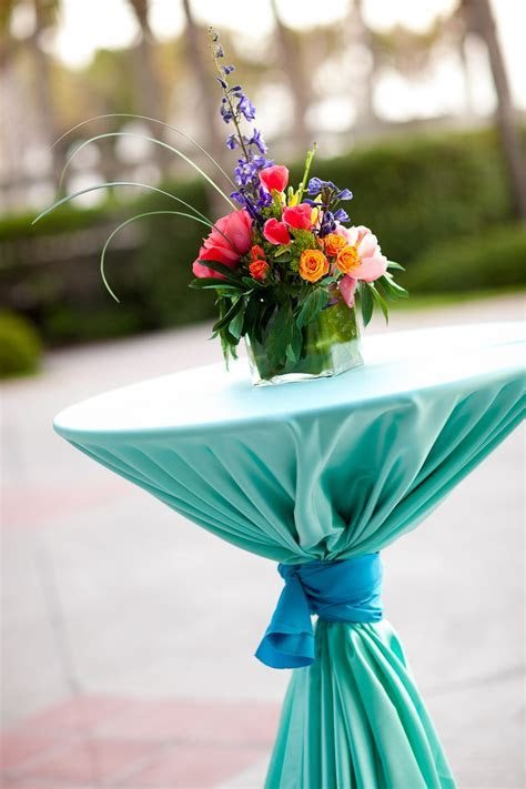 Bring color to cocktail hour with turquoise cocktail table