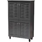 Baxton Studio Winda Dark Gray Wooden Entryway Shoe Storage Cabinet 4-Door