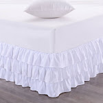 """Sweet Home Collection Waterfall Bed Skirt Unique Dust Three Ruffled Tier Layer Design with 14"""" Drop King White"""