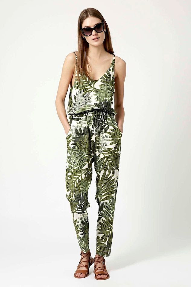 Le Fashion Blog Must Have Topshop Palm Leaf Print Jumpsuit Oversized Sunglasses Leather Flat Gladiator Sandals Summer Style