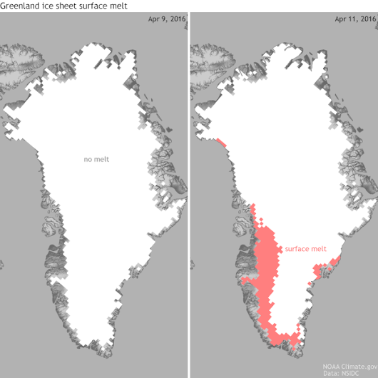 Greenland melt season off to very early start | NOAA Climate.gov