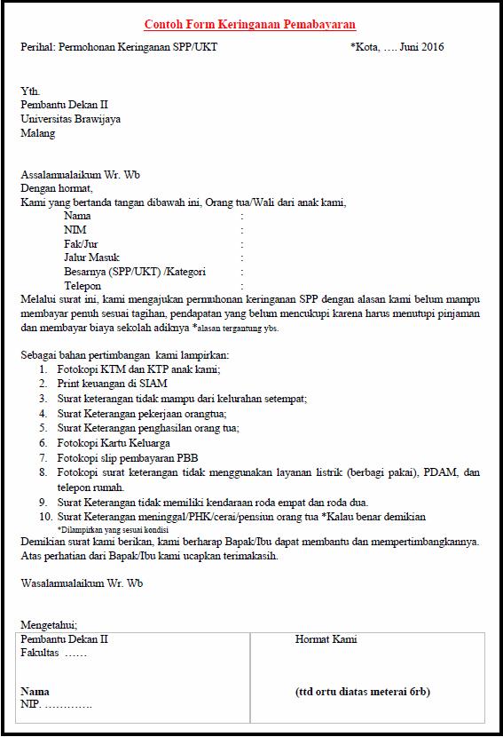 Contoh Surat Permohonan Keringanan Biaya Spp Sekolah - Surat 5