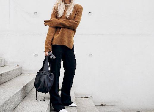 Le Fashion Blog Dark Tan Wool Sweater Black Wide Leg Pants Black Shoulder Bag White Heeled Boots Via Mijaflatau