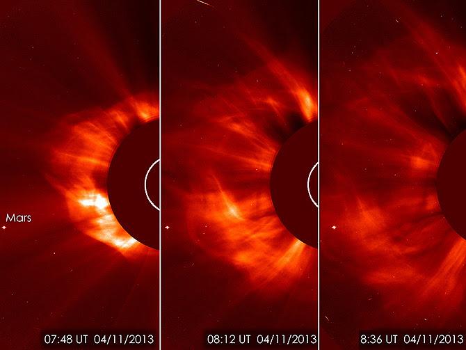 SOHO LASCO C3 instrumento capturó esta imagen de una eyección de masa coronal (CME) en la mañana del 11 de abril de 2013.