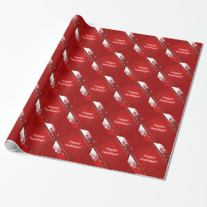 Christmas with Snow Red Background Wrapping Paper