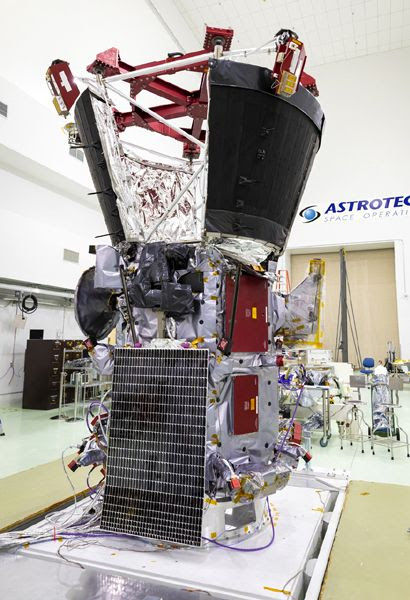 A snapshot of NASA's Parker Solar Probe after its twin solar arrays were installed on May 31, 2018...at Astrotech Space Operations in Titusville, Florida.