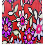 Funky Retro Red Flowers Shower Curtain