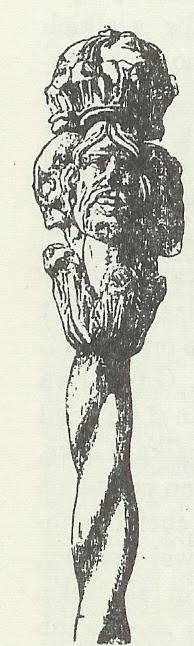 Wielotwarzowa rzeźba laski urzędnicznej z XV wieku z Kurzelewa