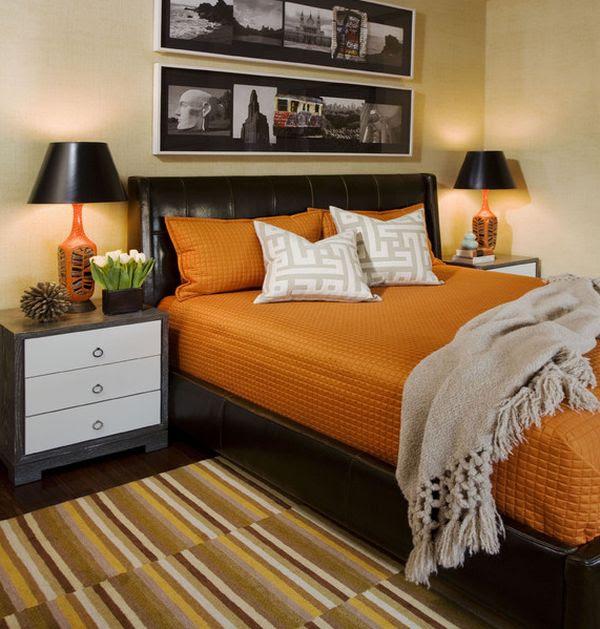 Màu sắc vui tươi như cam dường như làm việc đẹp cùng với những gợi ý của màu đen