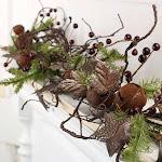 Tin Star, Berry and Artificial Pine Garland, 57'' long, Green, Craft Supplies