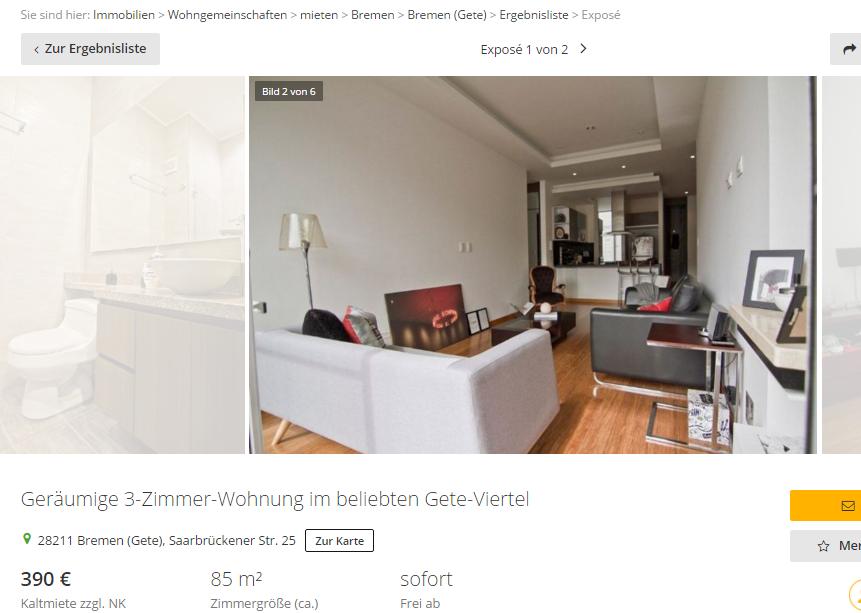 ger umige 3 zimmer wohnung 28211 bremen gete saarbr ckener str. Black Bedroom Furniture Sets. Home Design Ideas