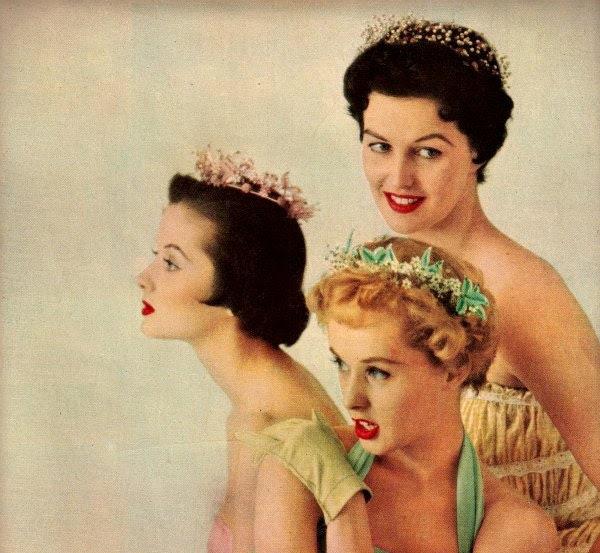 vintage pinup fashion flowers tiara 1949 advertisement - FrenchFrouFrou