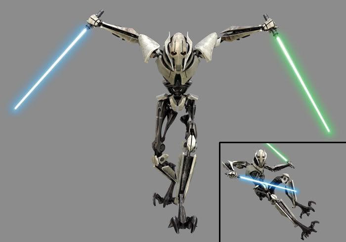 A publicity still and CG image of General Grievous.